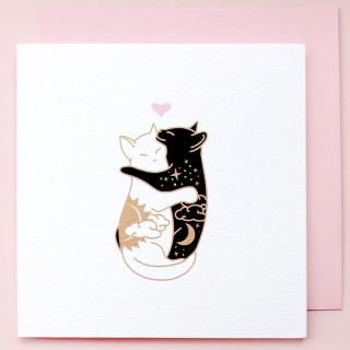 Card - Hugging cats