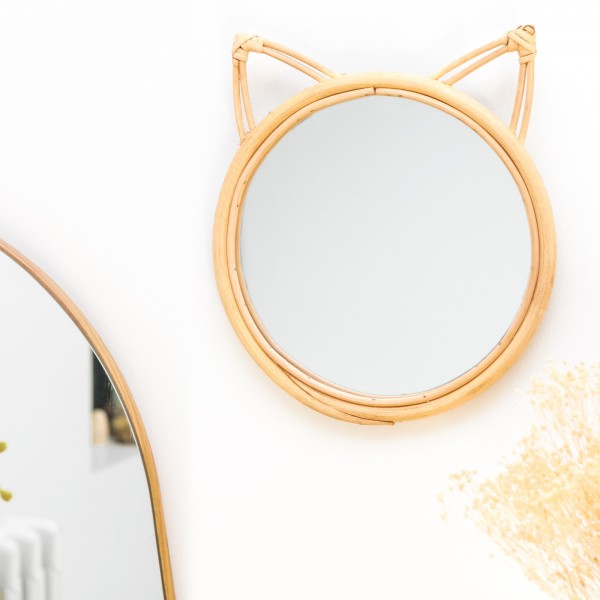 Rattan mirror - Cat