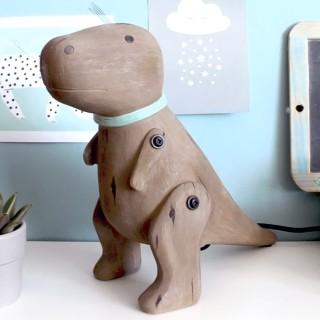 Wood effect dinosaur lamp - T-Rex