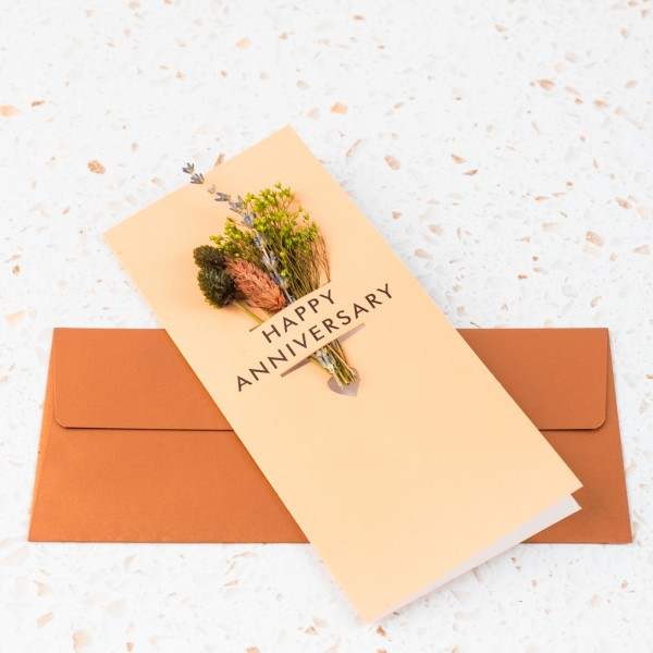 Dried floral greeting card - Happy anniversary