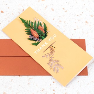 Dried floral greeting card - Thank you