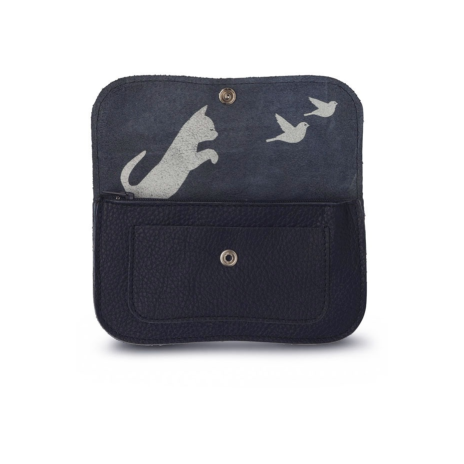 Chasing cat leather wallet by Keecie