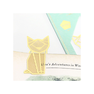 Gold bookmark - cat