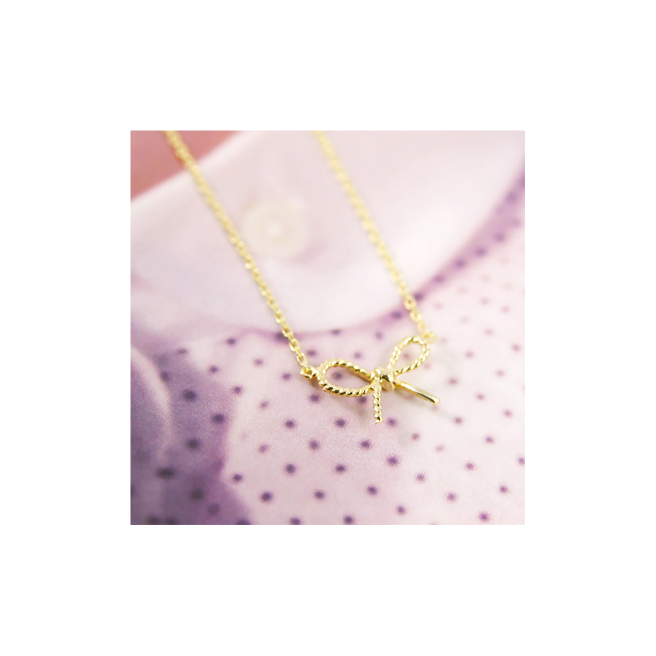 botw jewelry tiny gold bow necklace 5712