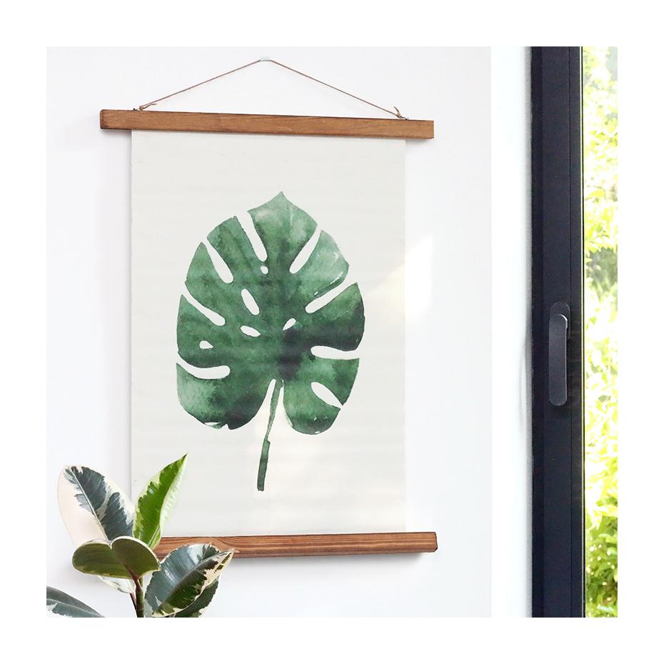 affiche en toile et bois au motif plante exotique. Black Bedroom Furniture Sets. Home Design Ideas