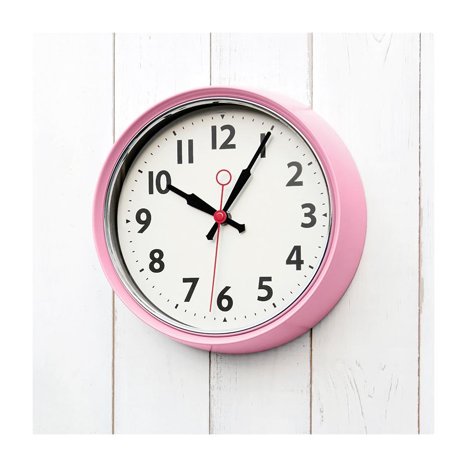 vintage pastel pink wall clock. Black Bedroom Furniture Sets. Home Design Ideas