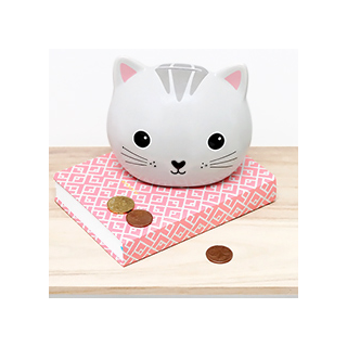 Money box grey cat